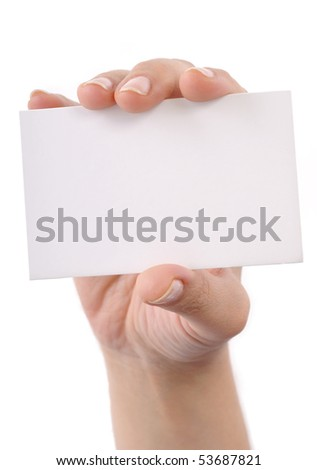 Woman hand holding blank business card isolated on white background. - stock photo