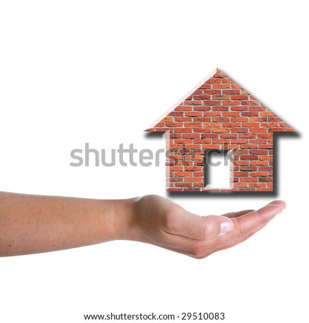 woman hand holding brick house isolated on white background - real state concept - stock photo