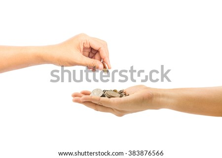 woman hand holding coin isolated on white background,saving money and business concept - stock photo