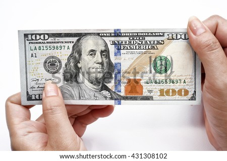 woman hand holding 100 Dollar bill isolated on white - stock photo