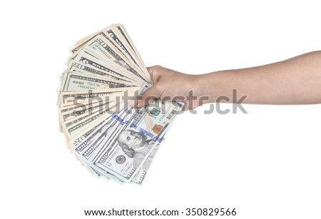 Woman hand holding dollar bill isolated on white background