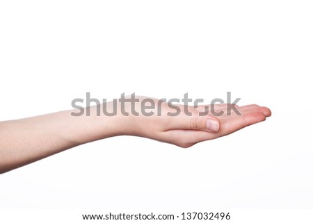 Woman hand holding isolated on white