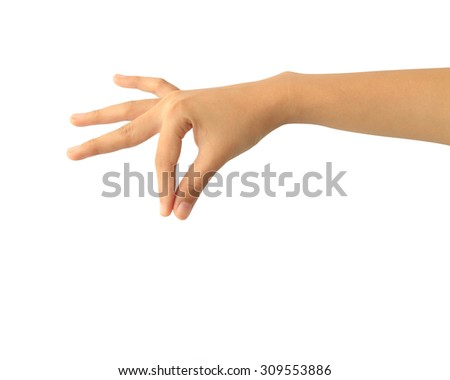 Woman hand holding isolated on white background