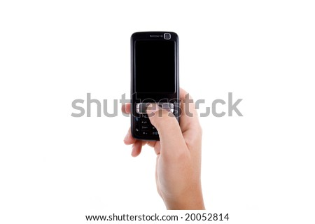 woman hand holding mobile phone isolated on white background. landscape orientation. - stock photo