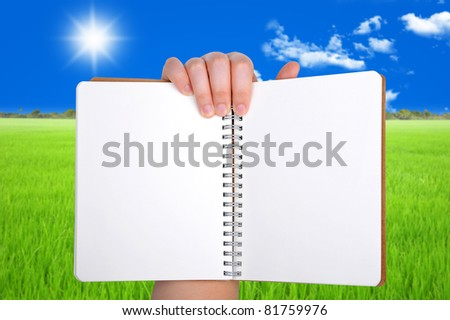 woman Hand holding opened book at blank page - stock photo