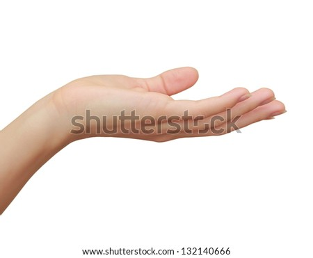Woman hand holding or showing something isolated on white background