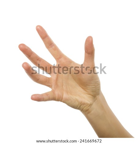 Woman hand holding or stretches. Isolated on white background. - stock photo