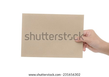 Woman hand holding paper on white background isolated