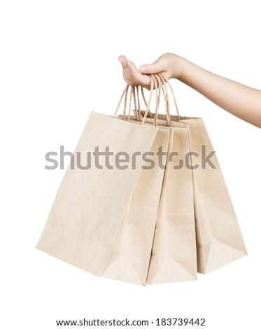 Woman hand holding paper shopping bags isolated on white background - stock photo