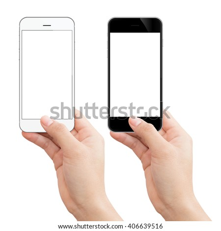 woman hand holding phone isolated clipping path inside image data - stock photo