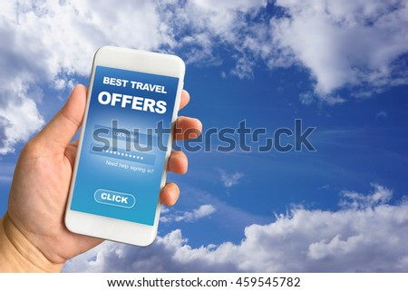 Woman hand holding smartphone against blue sky background, travel concept