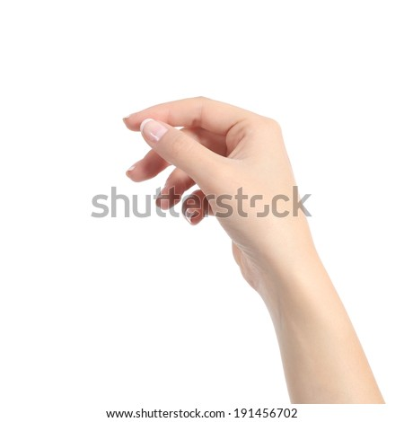 Woman hand holding some like a blank card isolated on a white background - stock photo