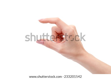 Woman hand holding some like a blank object isolated on a white background - stock photo
