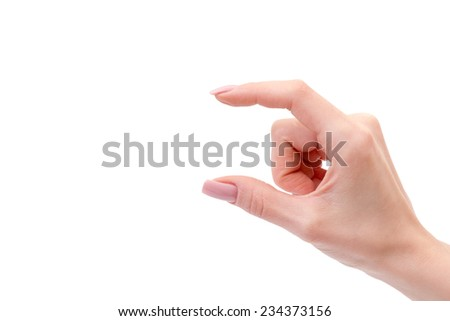 Woman hand holding some like a blank object isolated on a white background
