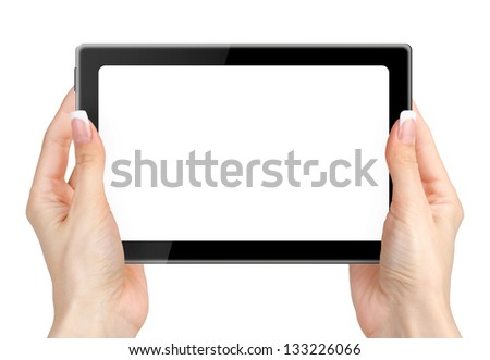 Woman hand holding tablet computer  on white background. - stock photo