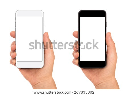 Woman hand holding the black and white smartphone, iphon 6 style - stock photo