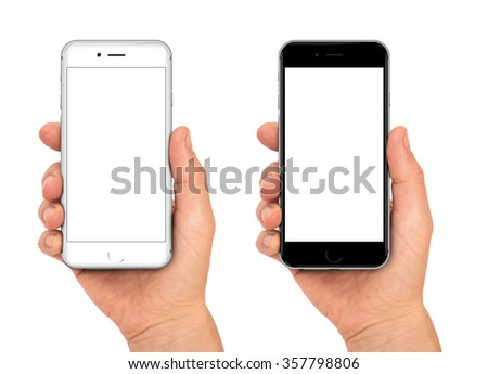 Woman hand holding the black and white smartphone with blank screen - isolaten on white background - stock photo