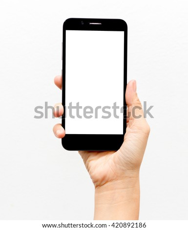 Woman hand holding the black smartphone isolated on white background