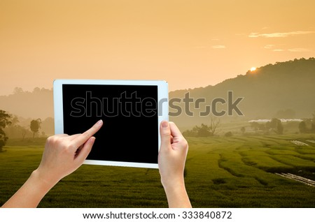 woman hand holding the phone tablet on nature view background - stock photo