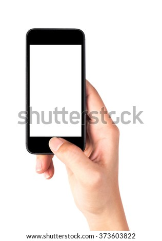 Woman hand holding the phone tablet touch computer gadget isolated on white with clipping path - stock photo