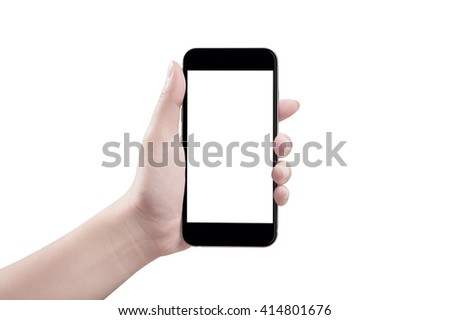 Woman hand holding the smartphone, isolated - stock photo