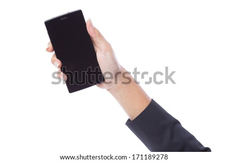 Woman hand holding the smartphone with blank screen