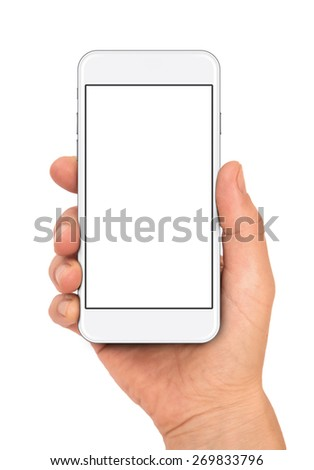 Woman hand holding the white smartphone, iphon 6 style - stock photo