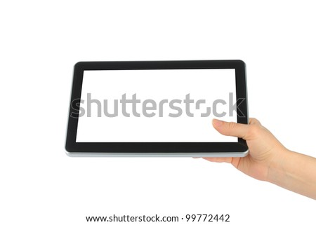Woman hand holding touch screen device on white background - stock photo