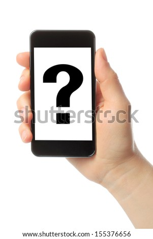 Woman hand holds smart phone with question mark on white background  - stock photo