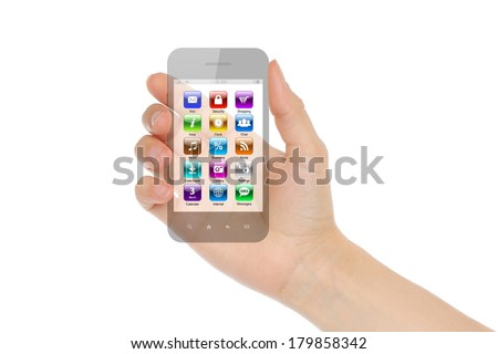 Woman hand holds transparent smart phone with icons on white background   - stock photo