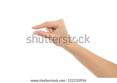 Woman hand in little gesture on a white isolated background - stock photo