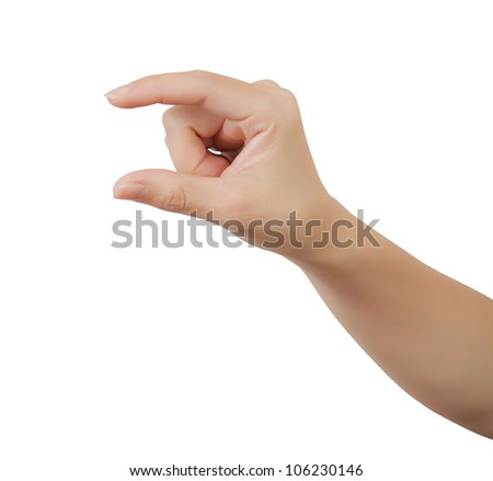 Woman hand isolated on a white background