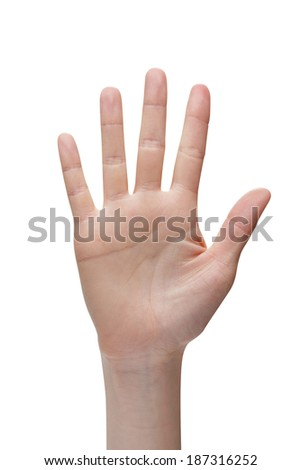 woman hand, isolated on a white background