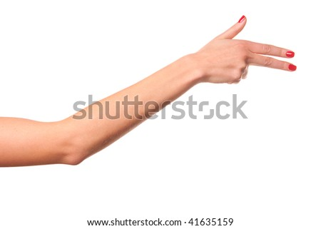 Woman hand. Isolated on white.