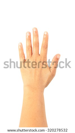 Woman hand isolated on white background