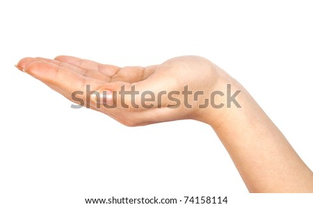 woman hand isolated on white background - stock photo