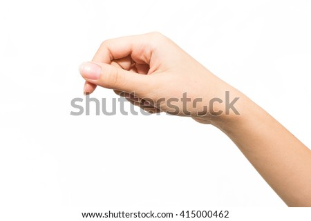 Woman hand isolated on white background , hold or catch - stock photo