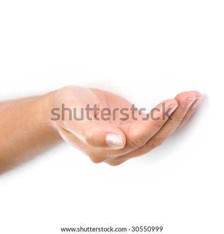 woman hand isolated on white background - square format - stock photo