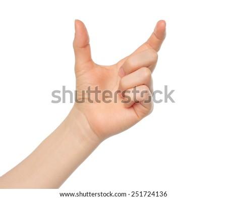 Woman hand like hold something on white backround - stock photo