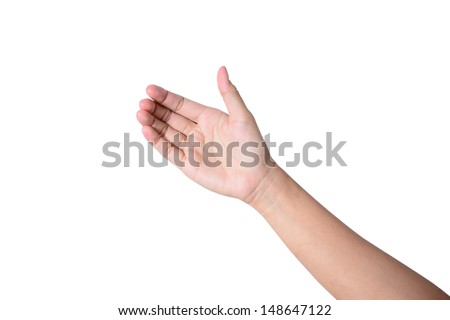 Woman hand like holding mobile phone, card, tablet pc or smth else  - stock photo