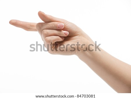 Woman hand making sign, isolated on white background
