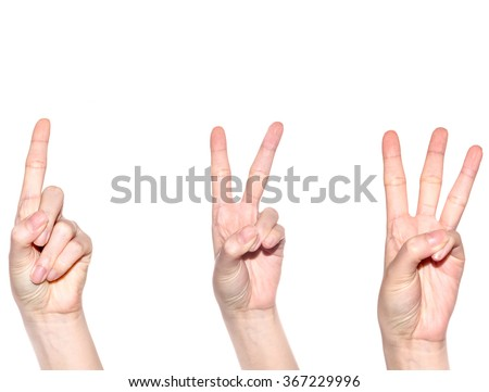 Woman hand making sign number 1 2 and 3. Isolated on white background - stock photo