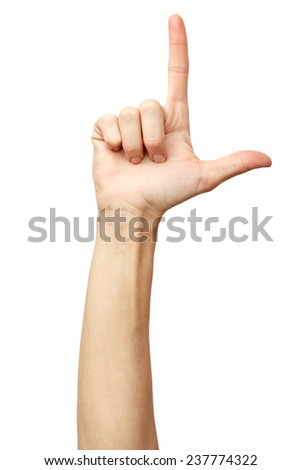 Woman hand on Isolated white background. Alpha. Loser. Two fingers 2 - stock photo