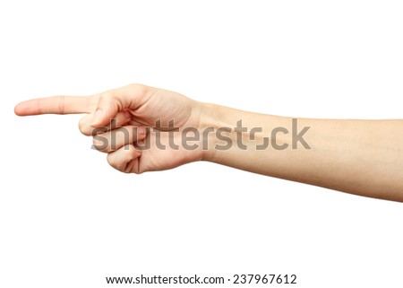 Woman hand on Isolated white background. Alpha. One finger. Forefinger. 1