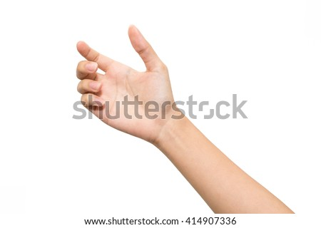 Woman hand on the isolated background , hold or catch