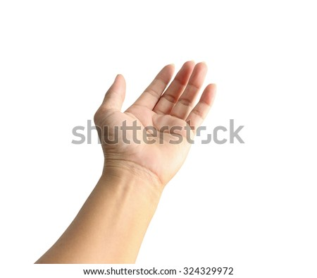 Woman hand on the isolated background,with clipping path. - stock photo