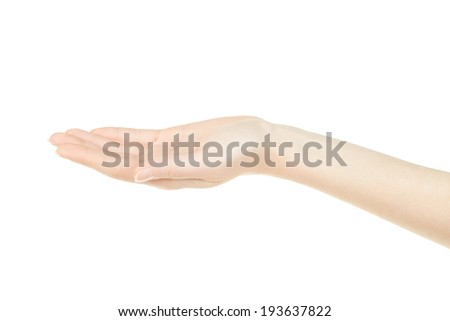 Woman hand open, empty palm up isolated on white, clipping path included