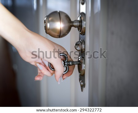 woman hand opening the door conceptual composition 3D - stock photo