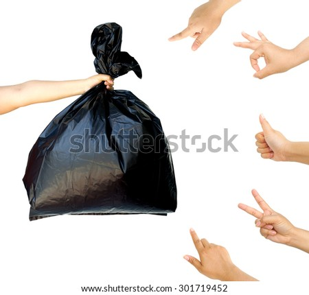 woman hand pointing and accepting at woman hand holding garbage bag isolated on white background, cleaning concept. - stock photo