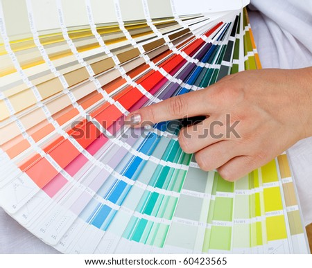 Woman Hand Pointing Sample Color Chart Stock Photo 60423565